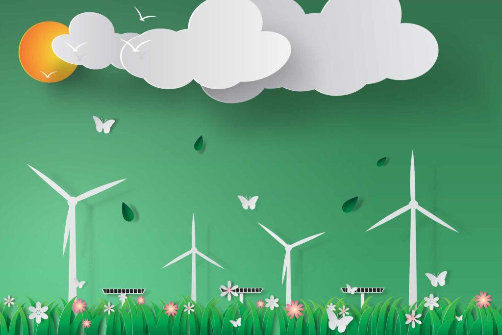 CSR-illustration - green ocean with windmills